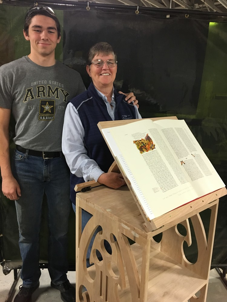 School Shop Project Results in Memorial Manuscript Pedestal