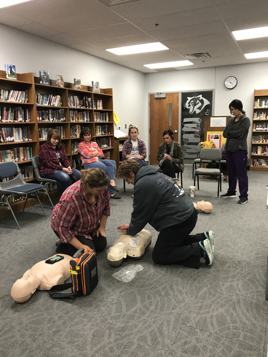 Stacey & Mary Ann perform CPR on dummy