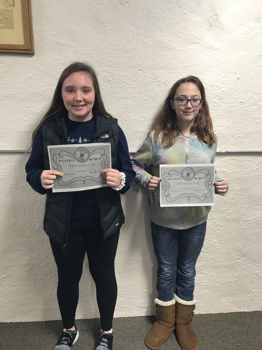 Greeley Co Spelling Bee Champion Darci Buck and Runner-Up Kennedy Holley