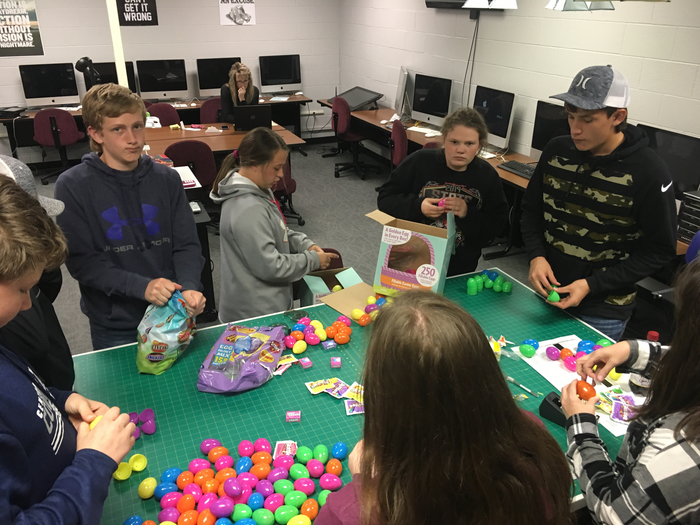 8th graders, family and friends filled over 4,000 eggs!