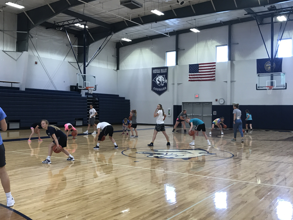 Lady Cougars showing our ball handling drill