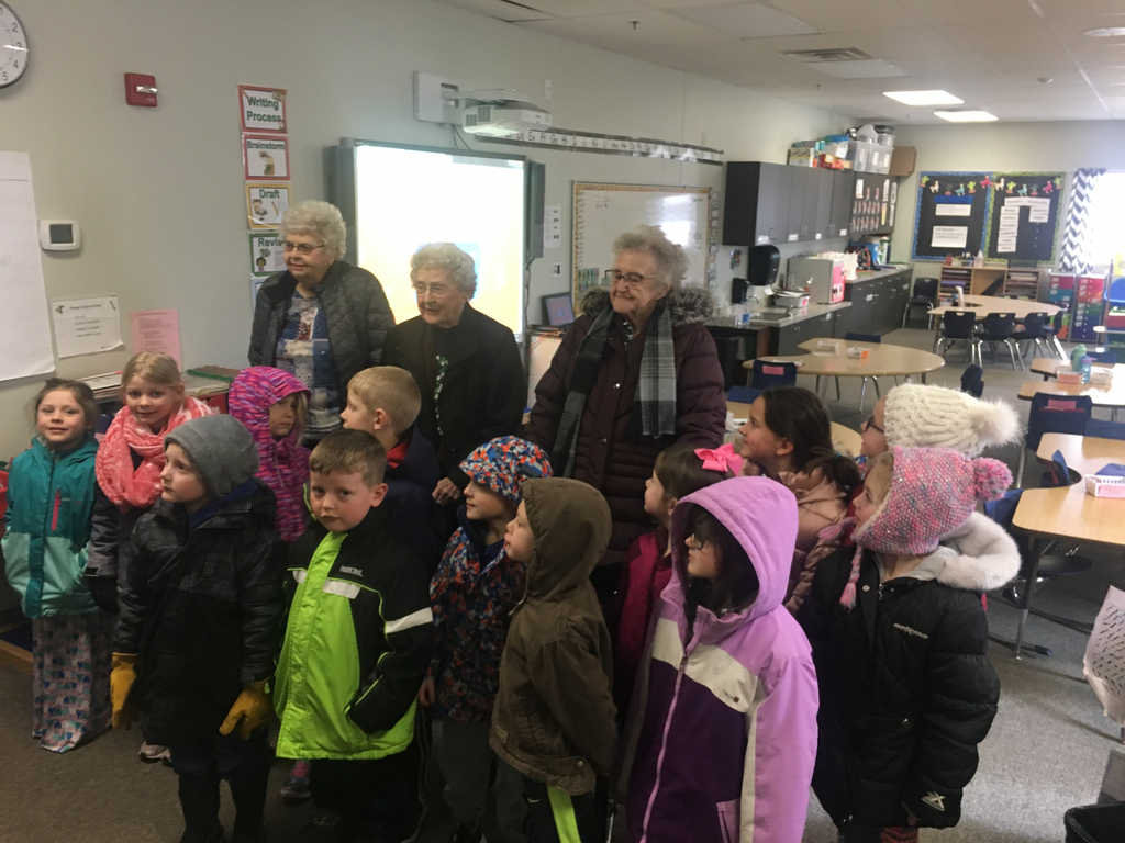 "Kindergartens students had a surprise visit from a few of their ""Grandpals"" today.  Residents at the Greeley Care Home made Valentine boxes for all of the Kindergarten students.  Students and residents have been pen pals for the school year and write back and forth monthly."